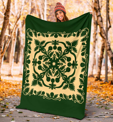 Hawaiian Premium Blanket Royal Pattern - Emerald Green - AH - J6 - Alohawaii