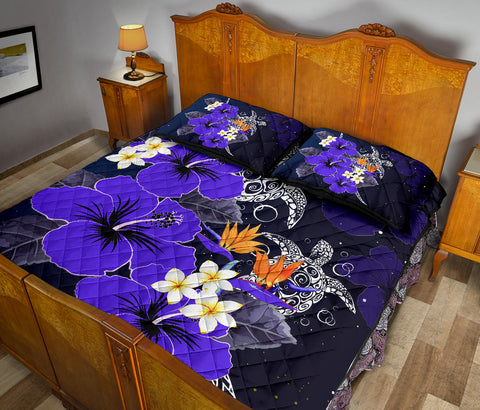 Hawaii Turtle Purple Hibiscus Polynesian Quilt Bed Set