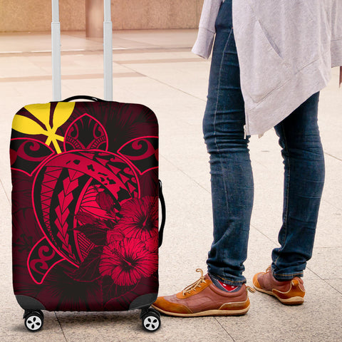 Hawaii Hibiscus Luggage Cover - Harold Turtle - Calico Red - AH J9