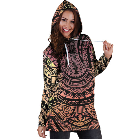 Polynesian Tribal Hoodie Dress - AH - J7