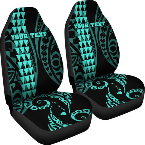 Image of Personalized Hawaii Car Seat Covers Kakau Large Polynesian Turquoise AH J1