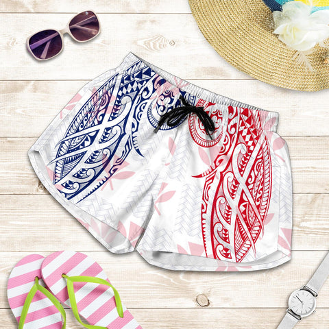 Hawaiian Kanaka Women's Shorts Flag Nation Demodern White AH J1