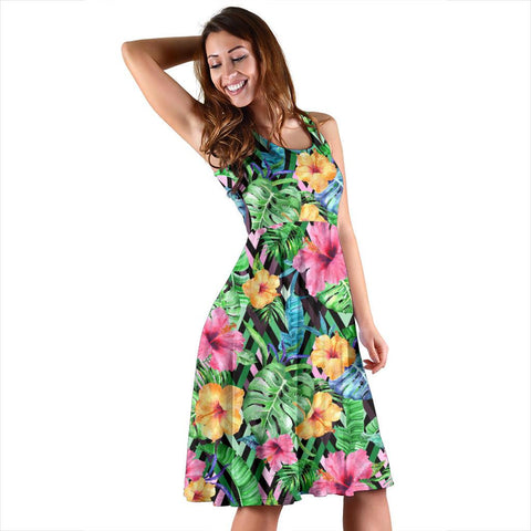 Hawaii Tropical Hibiscus Banana Leafs Midi Dress   - AH - J71