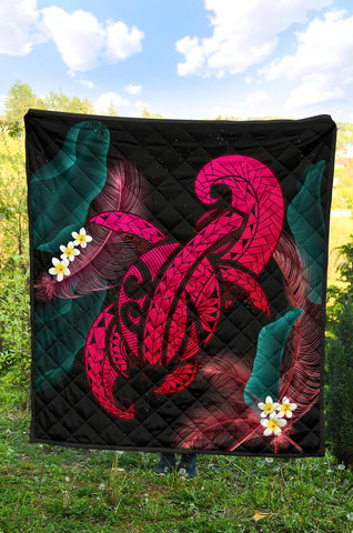 Image of Hawaii Turtle Polynesian Tropical Premium Quilt - Ghia Style Pink - AH - J4