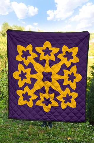 Hawaiian Premium Quilt Royal Pattern - Purple And Gold