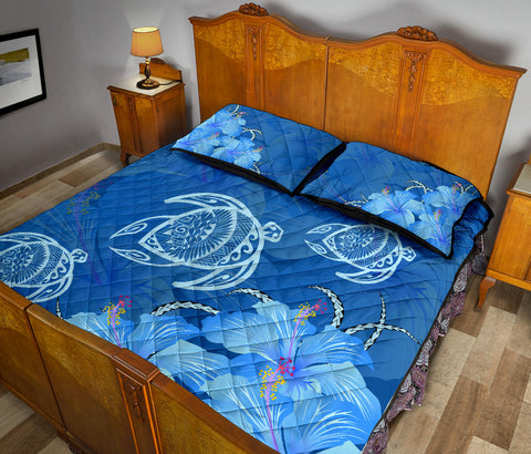 Hawaii Blue Hibiscus Turtle Polynesian Quilt Bed Set - AH - J4