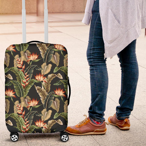 Hawaii Tropical Floral Vintage Strelitzia Flower Banana Leaves Luggage Cover - AH - J1 - Alohawaii