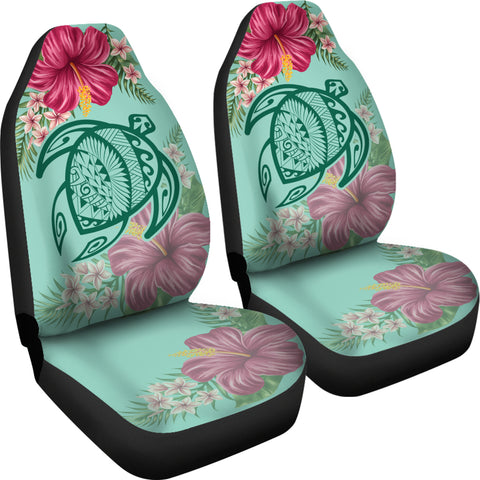 Hawaii Turtle Hibiscus Plumeria Car Set Cover - Hug Style - AH - J4
