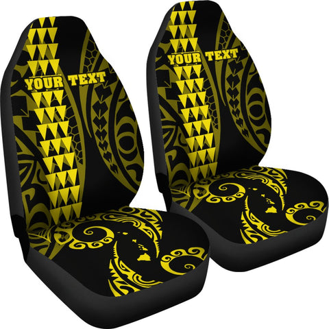 Image of Personalized Hawaii Car Seat Covers Kakau Large Polynesian Yellow AH J1
