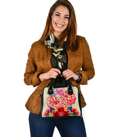 (Personalized) Hawaii Turtle Couple Hibiscus Valentine Shoulder Handbag - Romance Style - AH - J3