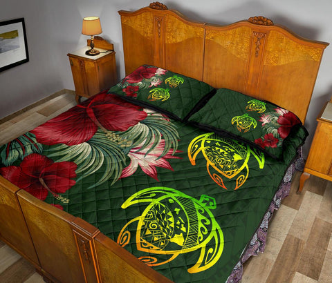 Image of Hawaii Quilt Bed Set - Turtle Hibiscus Pattern Hawaiian Quilt Bed Set - Green - AH - J2
