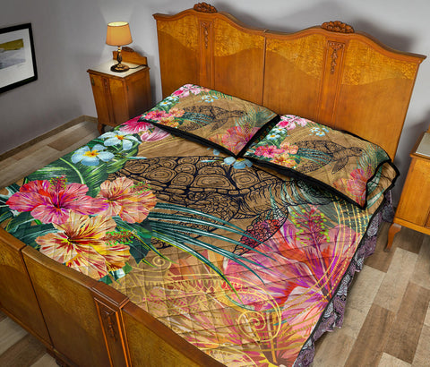 Hawaii Turtle Hibiscus Polynesian Gold Quilt Bed Set - Moon Style - AH - JA