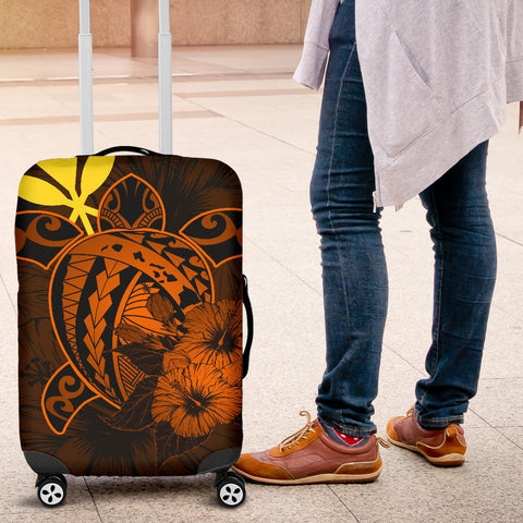 Hawaii Hibiscus Luggage Cover - Harold Turtle - Orange - AH J9