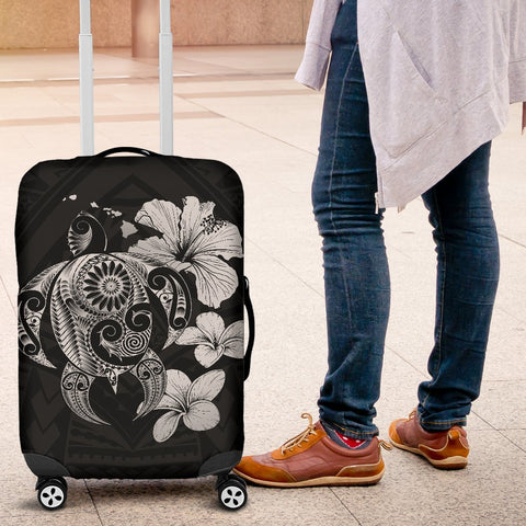 Hibiscus Plumeria Mix Polynesian Gray Turtle Luggage Covers - AH - J1