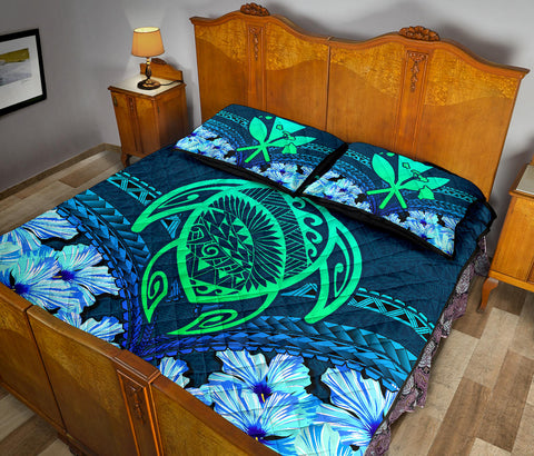 Hawaii Turtle Hibiscus Quilt Bed Set - Choco Style - AH - J4