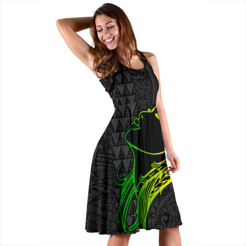 Hula Girl And Turtle Hibiscus Midi Dress - AH J4 - Alohawaii