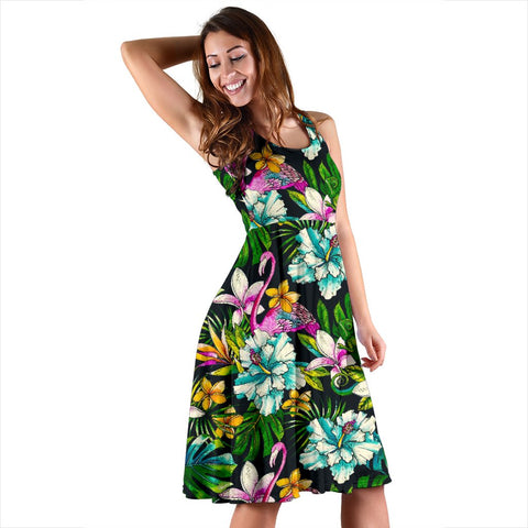 Hawaii Animals And Tropical Flowers Midi Dress   - AH - J71