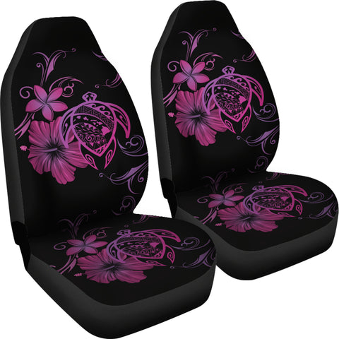 Hawaii Turtle Hibiscus Poly Pink Car Seat Covers - AH - J4