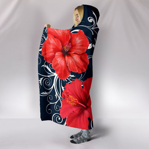 Hawaii Deep Blue Hibiscus Turtle Hooded Blanket - AH - Mike Style - J5