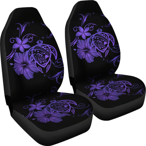 Image of Hawaii Turtle Hibiscus Poly Purple Car Seat Covers - AH - J4