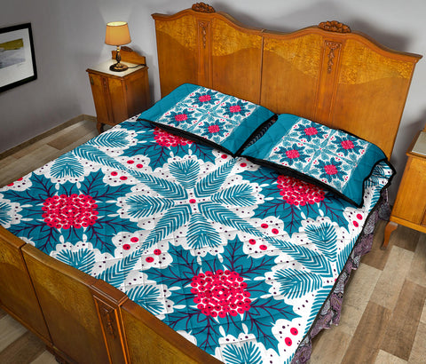 Hawaii Pattern Christmas Tropical Hawaiian Quilt Bed Set - AH - J3