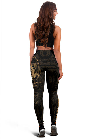Image of Hawaii Turtle Shark Polynesian Leggings - Gold - AH J4