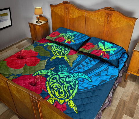 Hawaii Turtle Hibiscus Polynesian Quilt Bed Set - Bana Style - AH - J4