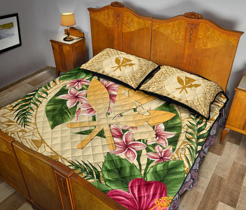 Image of Alohawaii Quilt Bed Set - Kanaka Maoli Quilt Bed Set Strong Pattern Hibiscus Plumeria AH J1