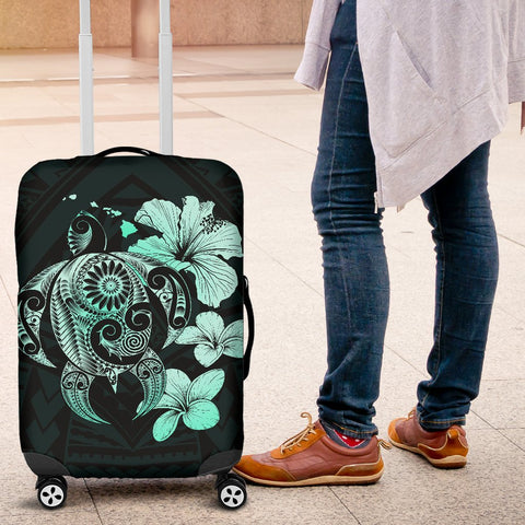 Hibiscus Plumeria Mix Polynesian Turquoise Turtle Luggage Covers - AH - J1