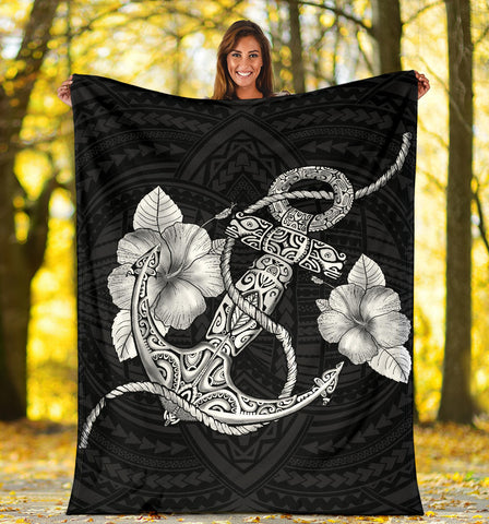 Image of Anchor White Poly Tribal Premium Blanket - AH - J14