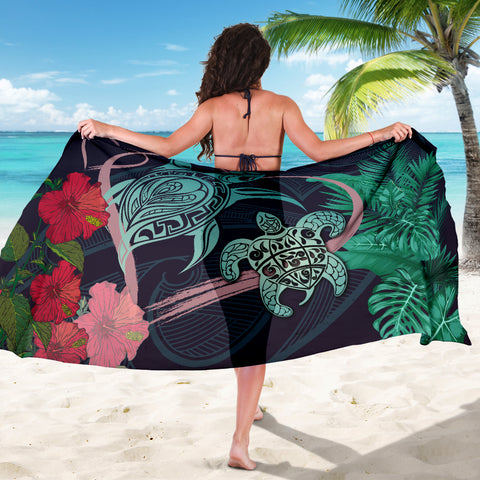 Image of Hawaii Turtle Hibiscus Valentine Sarong - Tropical Style - AH - JA