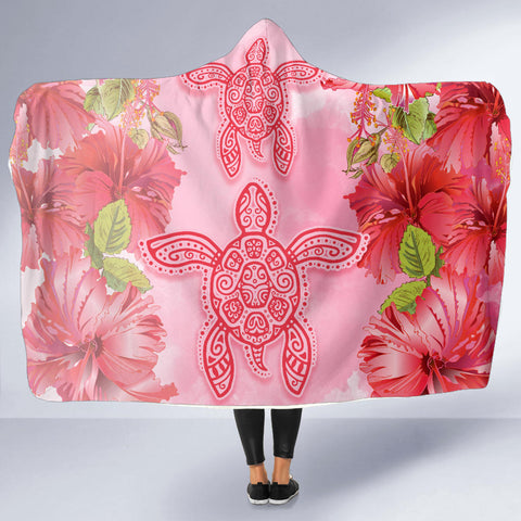 Hawaii Turtle Hibiscus Hooded Blanket - Pink Style