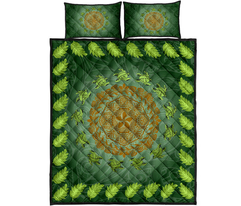Hawaii Tropical Pattern Turtle Polynesian Quilt Bed Set - J3