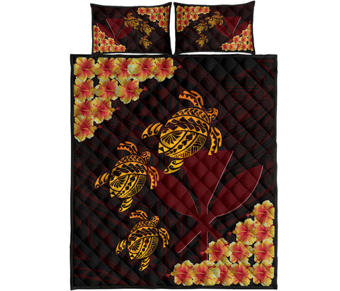 Hawaii Turtle Kanaka Polynesian Quilt Bed Set - Gigo Style - AH - J2