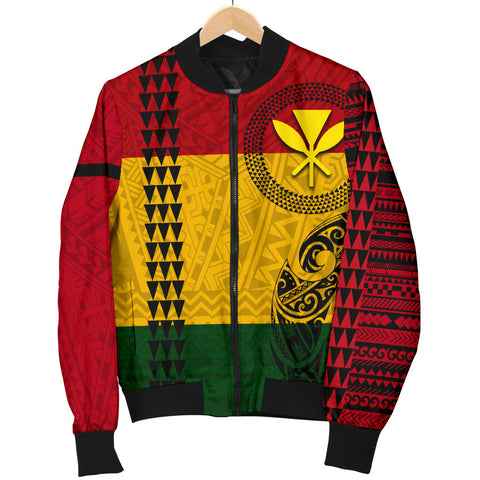 Image of Hawaii Kanaka Flag Polynesian Women's Bomber Jacket - AH - J6 - Alohawaii