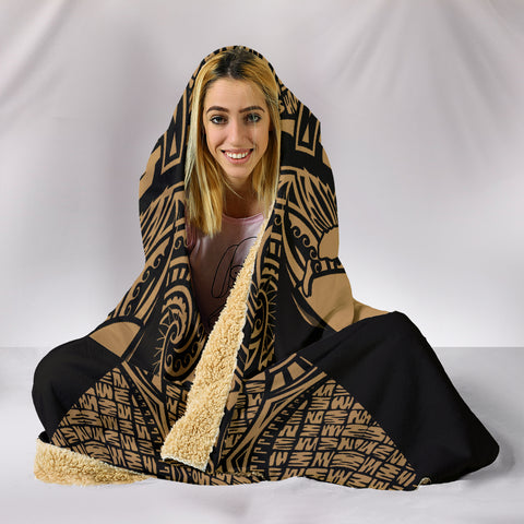 Image of Kanaka Map Polynesian Hooded Blanket - Gold - Armor Style - AH J9