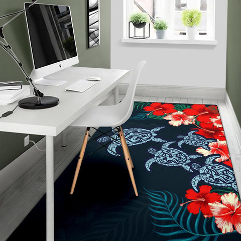 Hibiscus And Turtle Skillful Area Rug AH J1 - Alohawaii