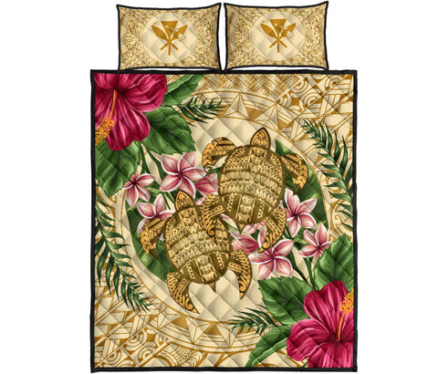 Alohawaii Quilt Bed Set - Turtle Strong Pattern Hibiscus Plumeria AH J1