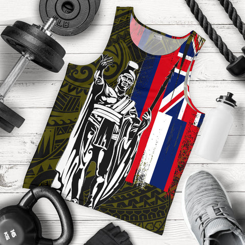 Hawaii King Flag Polynesian Men's Tank Top - Yellow - AH J4