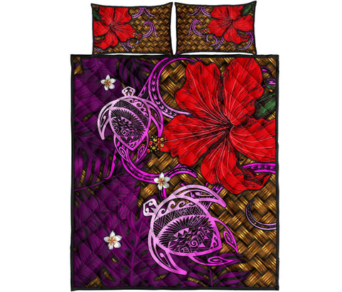 Hawaii Lauhala Hibiscus Polynesian Tropical Quilt Bed Set