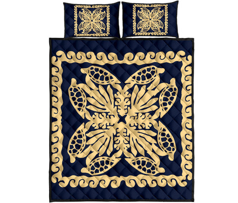 Hawaii Turtle Royal Indigo Quilt Bed Set