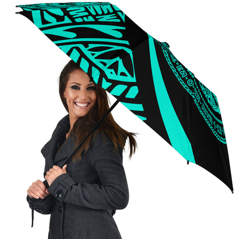Image of Seal Of Hawaii Umbrella Turquoise - Circle Style - AH J4 - Alohawaii