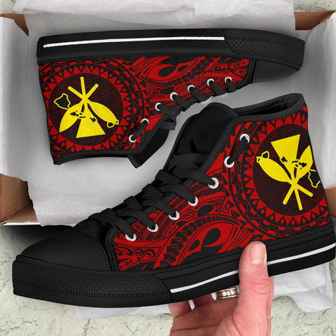 Hawaii Kanaka Map Polynesian High Top Shoes - TT Style - AH - J6 - Alohawaii