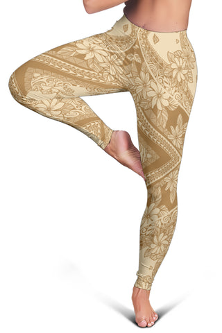 Polynesian Plumeria Mix Gold Hawaii Women's Leggings AH J2