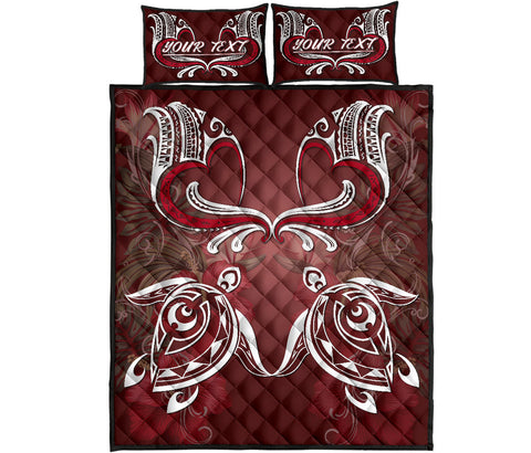 Hawaii Love Valentines Day Turtle Polynesian Quilt Bed Set