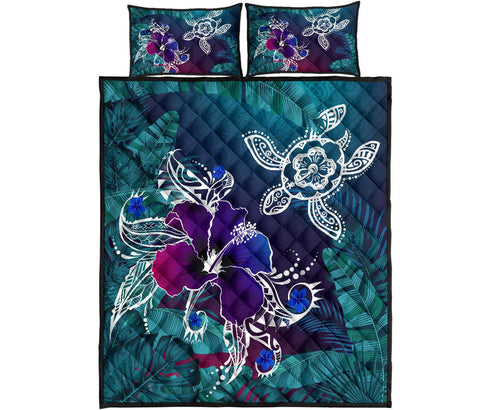 Image of Alohawaii Quilt Bed Set - Hawaii Turtle Flowers And Palms Retro - AH J8 - Alohawaii