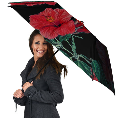 Hibiscus Red Flower Umbrella - AH - J1 - Alohawaii