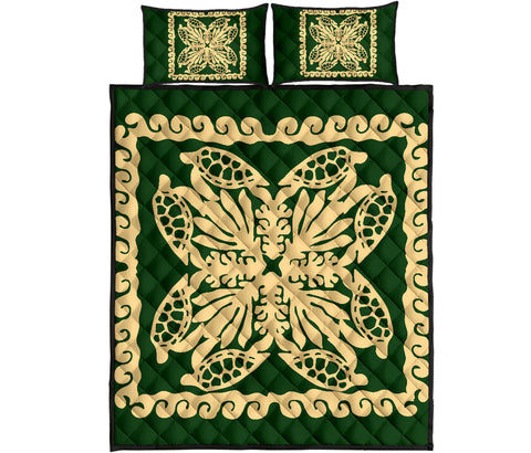 Hawaii Turtle Royal Green Quilt Bed Set