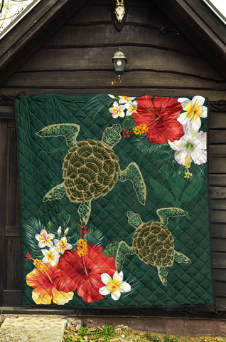 Image of Hawaii Sea Turtle Hibiscus Plumeria Premium Quilt - AH - J4 - Alohawaii