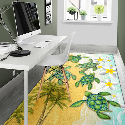 Hawaii Turtle Sea Hibiscus Coconut Tree Rug - AH - J4 - Alohawaii